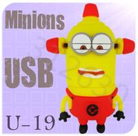 Hot sale U19 Despicable Me 2 Minions Cartoon U Disk 256MB 4GB 8GB 16GB 32GB 64GB USB 2.0 Flash Memory Stick Gift USB Flash Drive