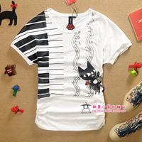 A02 summer casual piano cat short-sleeve loose batwing shirt