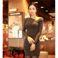 Sexy women's 2013 basic skirt slim long-sleeve slim hip one-piece dress