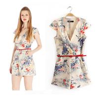 New women's V-neck sleeveless retro print jumpsuit (BK9)