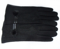 2014 Fashion Ladies Wimter Gloves Black Solid Color Knitting Acrylic Wool Ball Warm Gloves