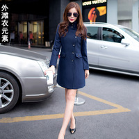 Wool coat female winter 2013 slim wool woolen overcoat female medium-long outerwear 8075