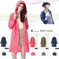 High quality women's raincoat thin waterproof fashion raincoat fabric high quality belt bag