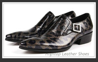 Free shipping 2013 new Hightop man's shoes,fashion party shoes,snake skin style,buckle,slip-on,pointed toe,black,size38-45