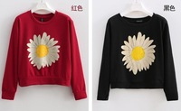 Free Shipping-2013 Autumn Winter NEW Arrivel Chrysanthemum Pattern Round Neck Long Sleeve Short Fleece Women's Clothing