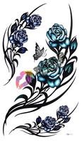 Waterproof tattoo sticker fashion large rose hm341 Women