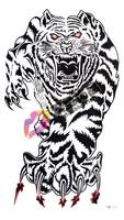 Tattoo stickers waterproof chest Men tiger large tattoo hm335