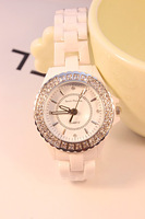 Free shipping  fashion ceramic watch white ceramic branded watch