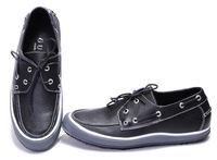 High-end Fashion Brand Slip On Flat Casual Shoes For Men Leather Loafers Shoes black white
