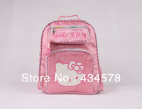 2013 hot sale girl's pink color backpack of schoolbag, hello kitty backpack for children with free shipping