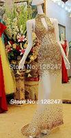 Hot sale sheath halter deep v-neck gold crystals chiffon open back floor length prom dresses 2013 PDM-0061