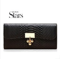 2013 New Fashion Snake Skin Genuine Leather Women Wallets Luxury Cowhide Evening Clutch Free Shipping