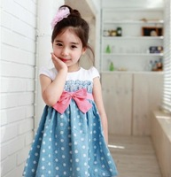 Girls Baby Kids Toddlers 1PCS Cowboy Blue Polka dot Bowknot Dress Clothes