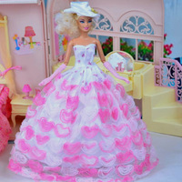 new arrvial children christmas gift doll high quality heart pink dress for barbie