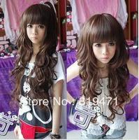 2013 Three colors Wig long roll fluffy long curly hair bangs qi wavy brown wigs girls