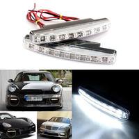 Free Shipping 2 X Super White 8LED Car Daytime Running Light DRL Daylight Kit 12V DC Head Lamp with Retail Bag