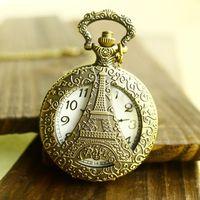 Free shipping wholesale dropship 2014 russian hot sale bronze vintage Eiffel Tower hollow cut  fashion quartz pocket watch