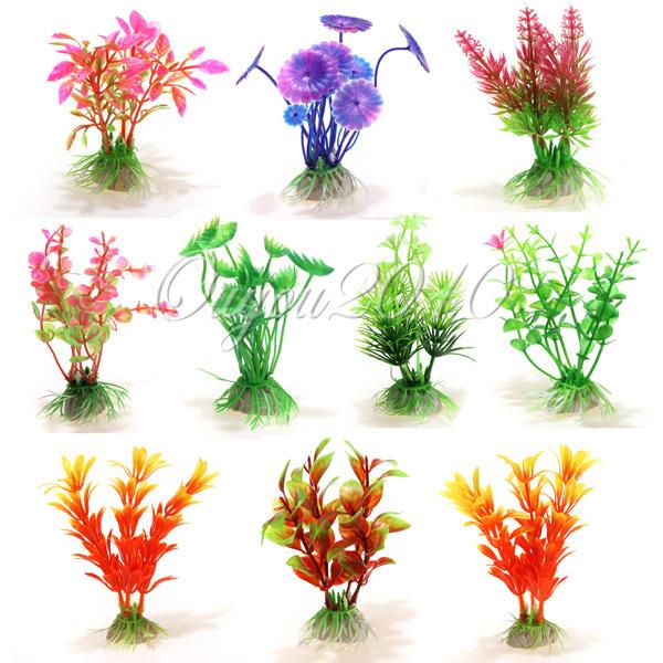 10pcs/lot New Plastic Aquarium Decorations Multicolor Artificial Plants Fish Tank Grass Flower Ornament Decor Landscape(China (Mainland))