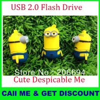 "Free shipping ""Despicable Me"" usb flash drive 1GB 2GB 4GB 8GB 16GB 32GB Pen drive Memory Flash 2.0 Pendrive"