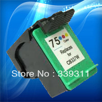 Free Shipping!Remanufactured 75 CB337W ink cartridge for HP 75 inkjet cartridge HP J5780/PSC4280/PSC5280