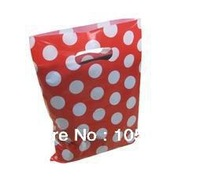 Red with White Dot pattern 30*40cm Fashion Plastic Bags for Shopping Garment Gift Packaging high pressure thickness 0.12mm