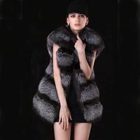2014 New High Quality! Women Genuine Silver Fox Fur Coats Vests Natural Furs Gilets Waistcoats Customize Fashion Outerwear