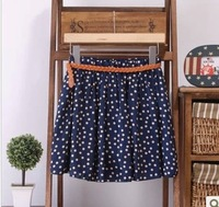 2013 summer new skirts sweet floral retro wave point chiffon pleated skirt