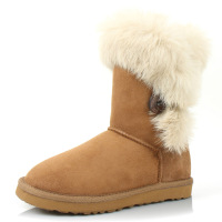 free shipping Wool and fur in one knee-high button rabbit fur female snow boots female 7814  on sale