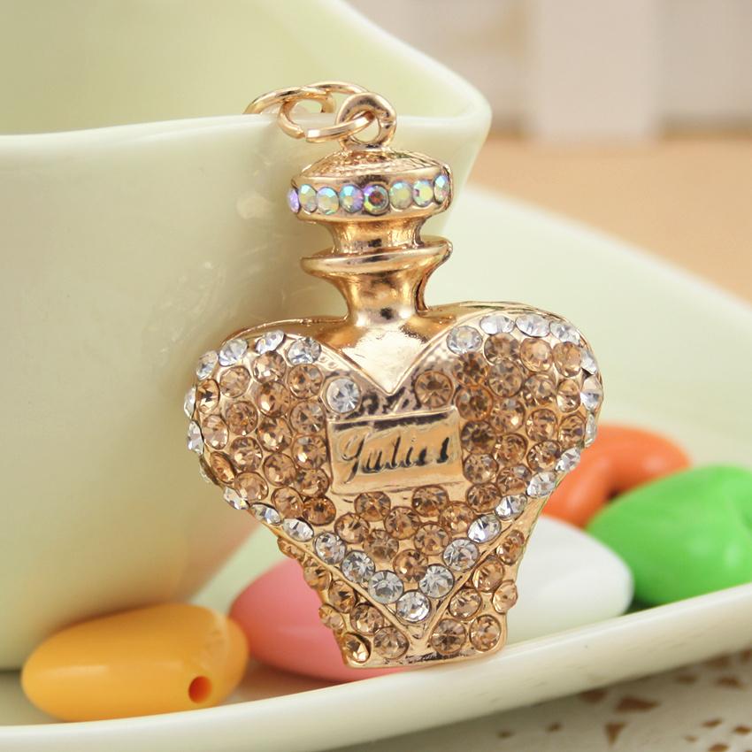 Fashion Peach Perfume Fragrance Bottle Shape Key Chain Keyring Alloy Gold Plated Lovely Romantic Gift Free Shipping(China (Mainland))
