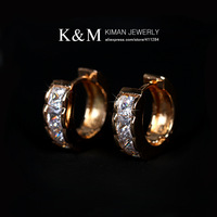 (Min Order is $10) New Arrivial Unique Copper Hoop Earrings AAA Zircon Jewelry  for Women EA-01173, Pure Gold Plated