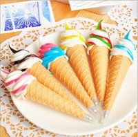 Wholesale Free shipping  Super cute Ice cream-style Pen With a magnetic sticker Very popular creative Ballpoint Pen (16 pcs/lot)