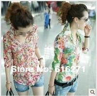 new 2014 Spring summer women blouse  Retro floral shirt sleeve Fashion chiffon shirt  Free shipping C059 size M-XL