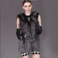 New Arrive Genuine Natural Silver Fox Fur Vest Vests For Girls Fox Gilet Waistcoat Thicken Warm Autumn and Winter parka