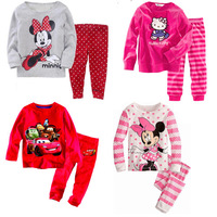 Hot Retail Baby & Kids Minnie Pajamas sets BoysTigger Suit set Girls blouses+ pants 2-piece sets 2-7T Free Shipping