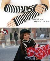 Fashion stripe 2012 mitring female semi-finger gloves long arm sleeve wristiest