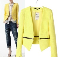 Newest  Fashion 2013 Women Autumn Jacket/Europe Style Zipper Design Small Blazers/Punk Style Handsome Outwear For Women Brand