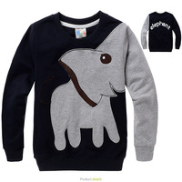 Wholesale 2013 autumn new children cotton longsleeve top baby boy girl cute elephant tshirt kid cartoon clothing wear 5pcs/lot