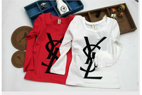 Wholesale 2013 autumn new children 100% cotton longsleeve top baby boy girl cute YS letter tshirt kid clothing wear 5pcs/lot