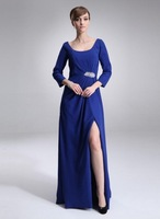 Sheath Scoop Neck Floor-Length Chiffon Mother of the Bride Dress With Ruffle Beading HWGJMD126