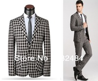 100% wool men italian suits classic plaids fashion designer business  & casual suits jacket pants dress suits