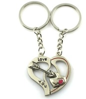Couple Arrow Heart Love You Cupid Pendant Key Chain Ring Keychain Keyfob Lovers Novelty Items Gift Promotional Keychains