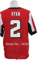 2013 Mens Cheap Atlanta QB #2 Matt Ryan RB #11 Julio Jones Red/White/Black Elite American Rugby Football Sport Jersey.Embroidery