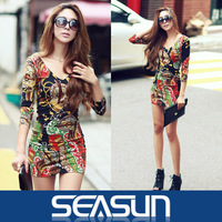 2013 free shipping Korea act as purchasing agency MINI sexy spring sexy flower color charm package hip thin body dress