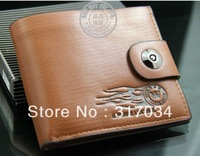 High Quality  Leather Red Wolf Wallet Pockets Card Clutch Cente Bifold Purse Money Clip Cad Holder