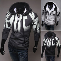 2013 autumn print male with a slim hood fleece sweatshirt fashion personality men's clothing cardigan black