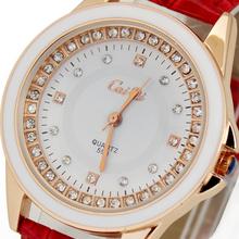 High Quality! Red Deluxe Crystal Diamond Jewelry Women's Ladies Girls Xmas Christmas Birthday Gift Analog Quartz Wrist Watches