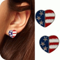 D1037 Europe trade jewelry wholesale retro wild cute love heart-shaped flag design fashion earrings