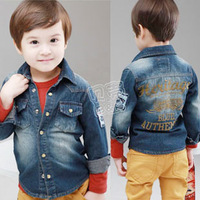 2013 discontinuing spring and autumn boys clothing baby child long-sleeve denim shirt tx-1741