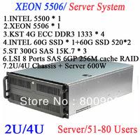 XEON 5506 High-end cafes diskless server Rack mount 2U 4U server best solution for school cafe bar can take 51-80 computers