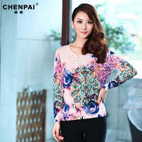 Autumn new arrival 2013 women's plus size basic shirt sweater mother clothing long-sleeve rhinestones sweater